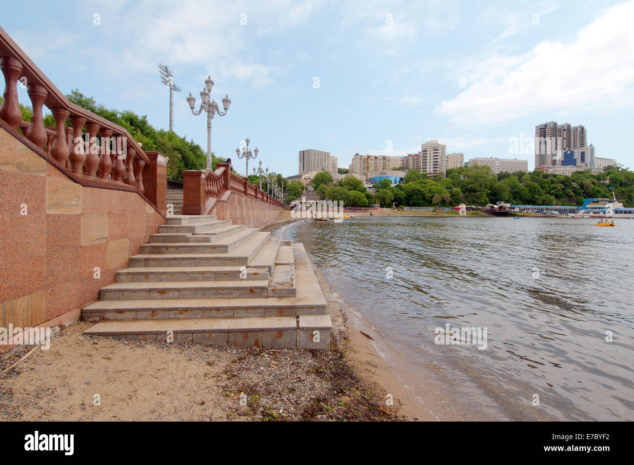 Stairway to the beach on the waterfront in Vladivostok, Far East, Primorye, Russia - Stock Image