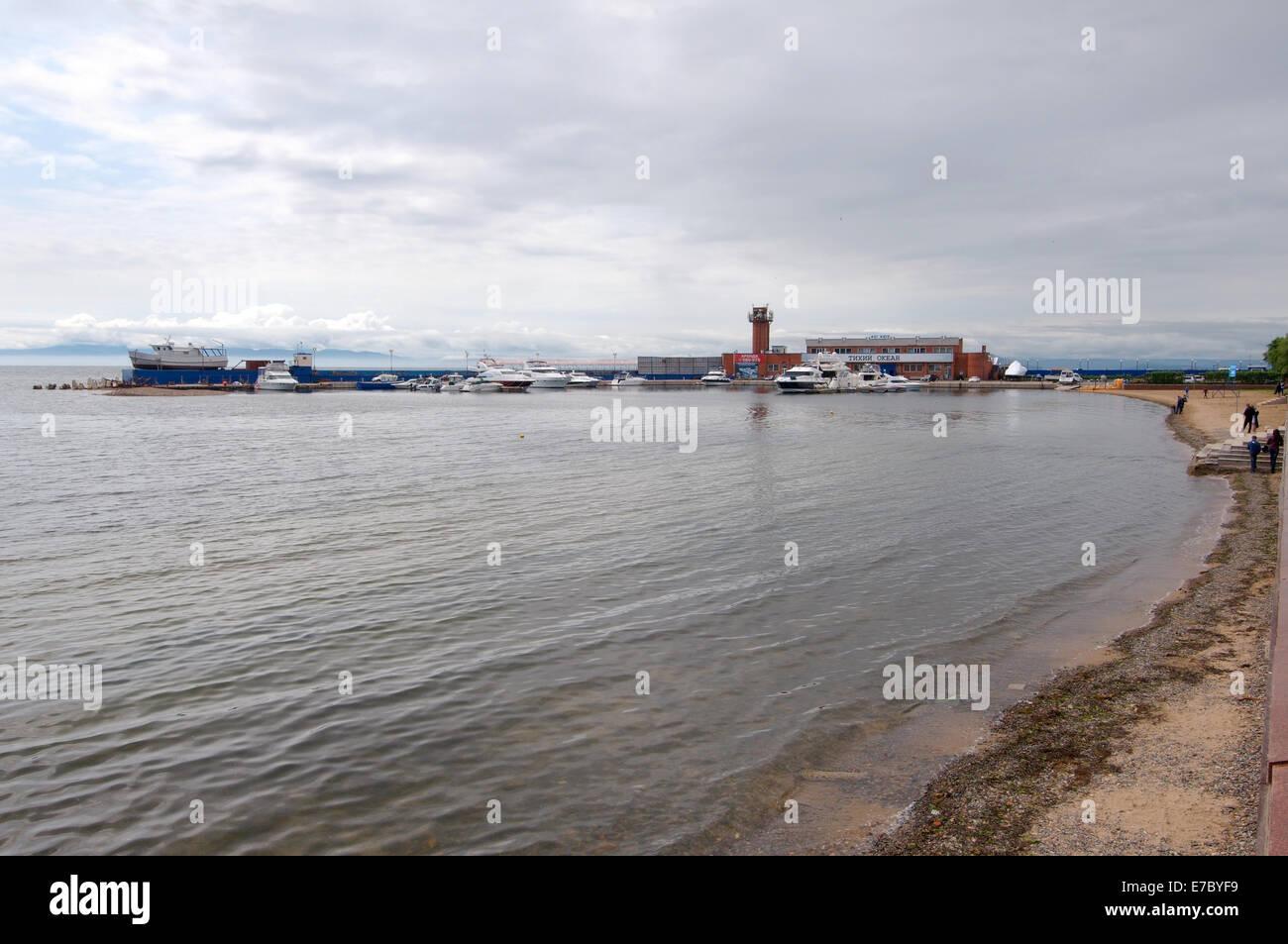 Beach in Vladivostok, Sea of Japan, Far East, Primorye, Russia - Stock Image