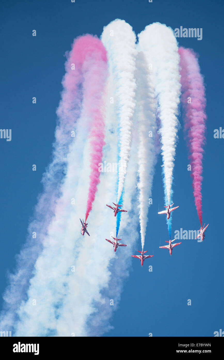 PAYERNE, SWITZERLAND - SEPTEMBER 6: Flight of RAF Red Arrows aerobatic team in close formation on AIR14 airshow - Stock Image