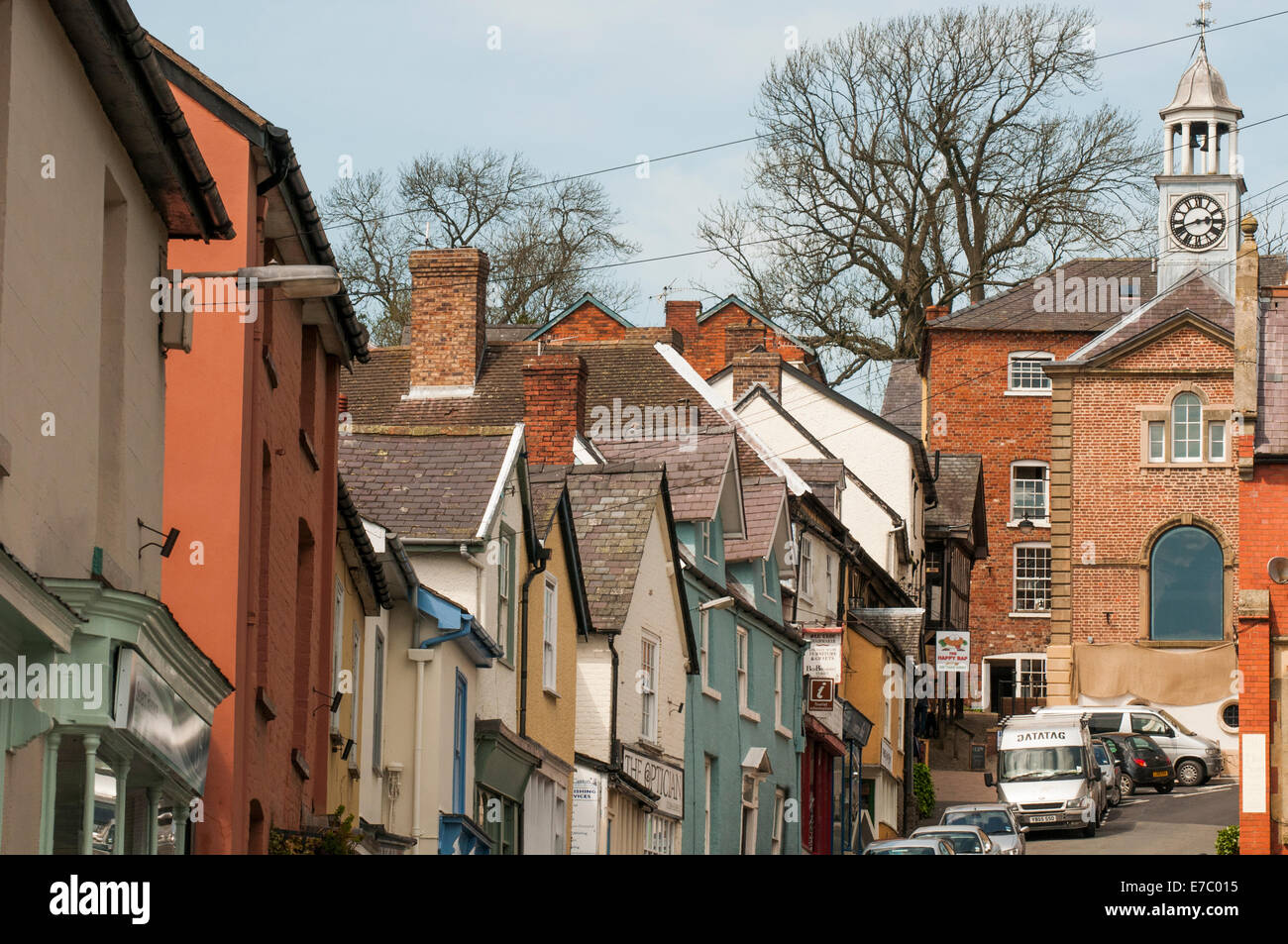 The main street of Bishop's Castle in the Welsh Marches district of Shropshire, England - Stock Image