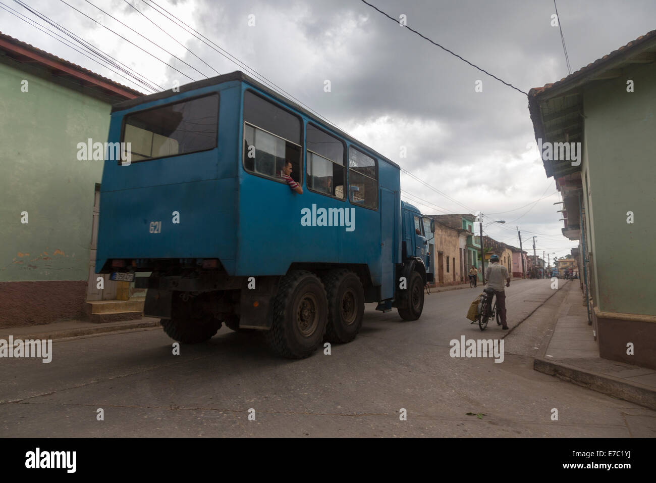 army lorry converted for public transportation, Trinidad, Cuba - Stock Image