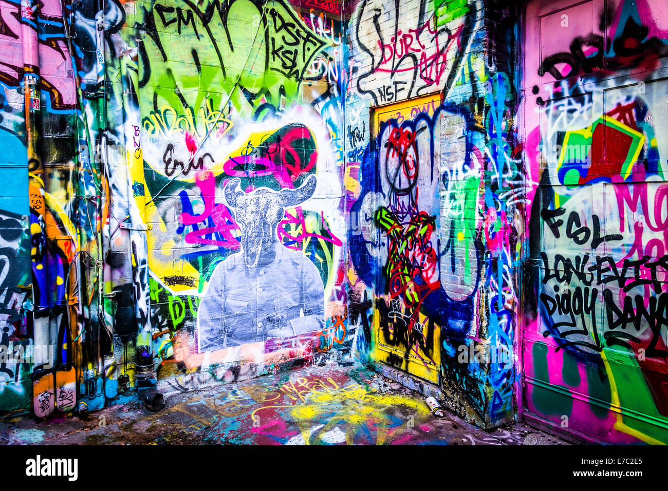 Colorful Designs In Graffiti Alley Baltimore Maryland