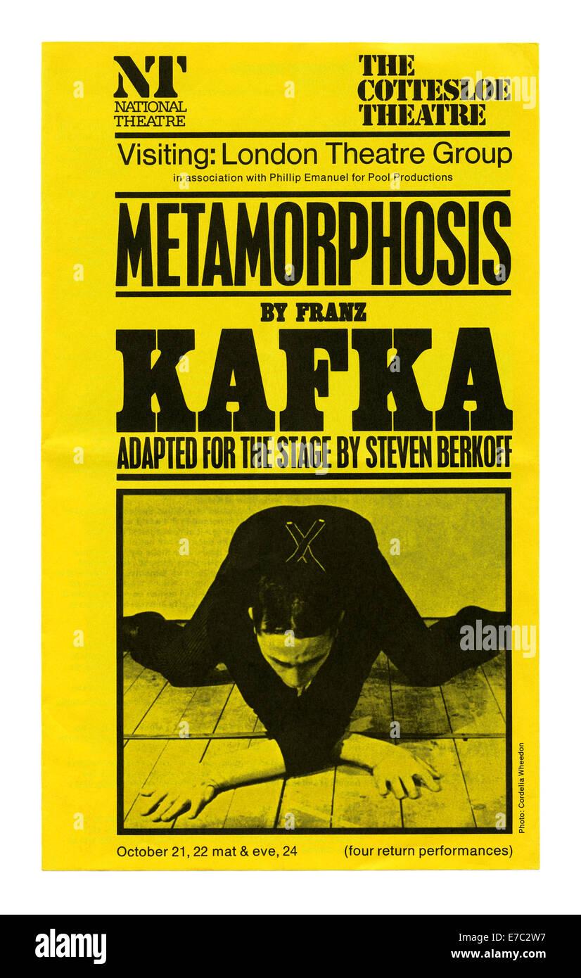 Handbill for Steven Berkoff's adaptation of Franz Kafka's 'Metamorphosis', The National Theatre, London, 1979 - Stock Image