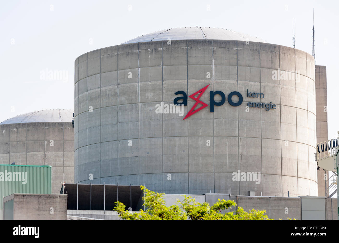 Reactor building of the nuclear power plant Beznau, Switzerland (canton Aargau). - Stock Image
