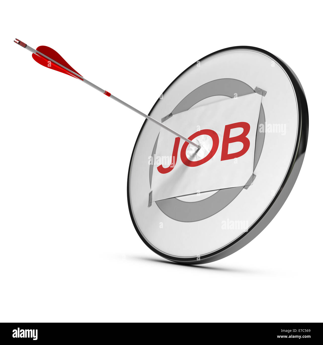 target with the word job and one arrow hitting the center of the o letter, red tones and white background, concept - Stock Image
