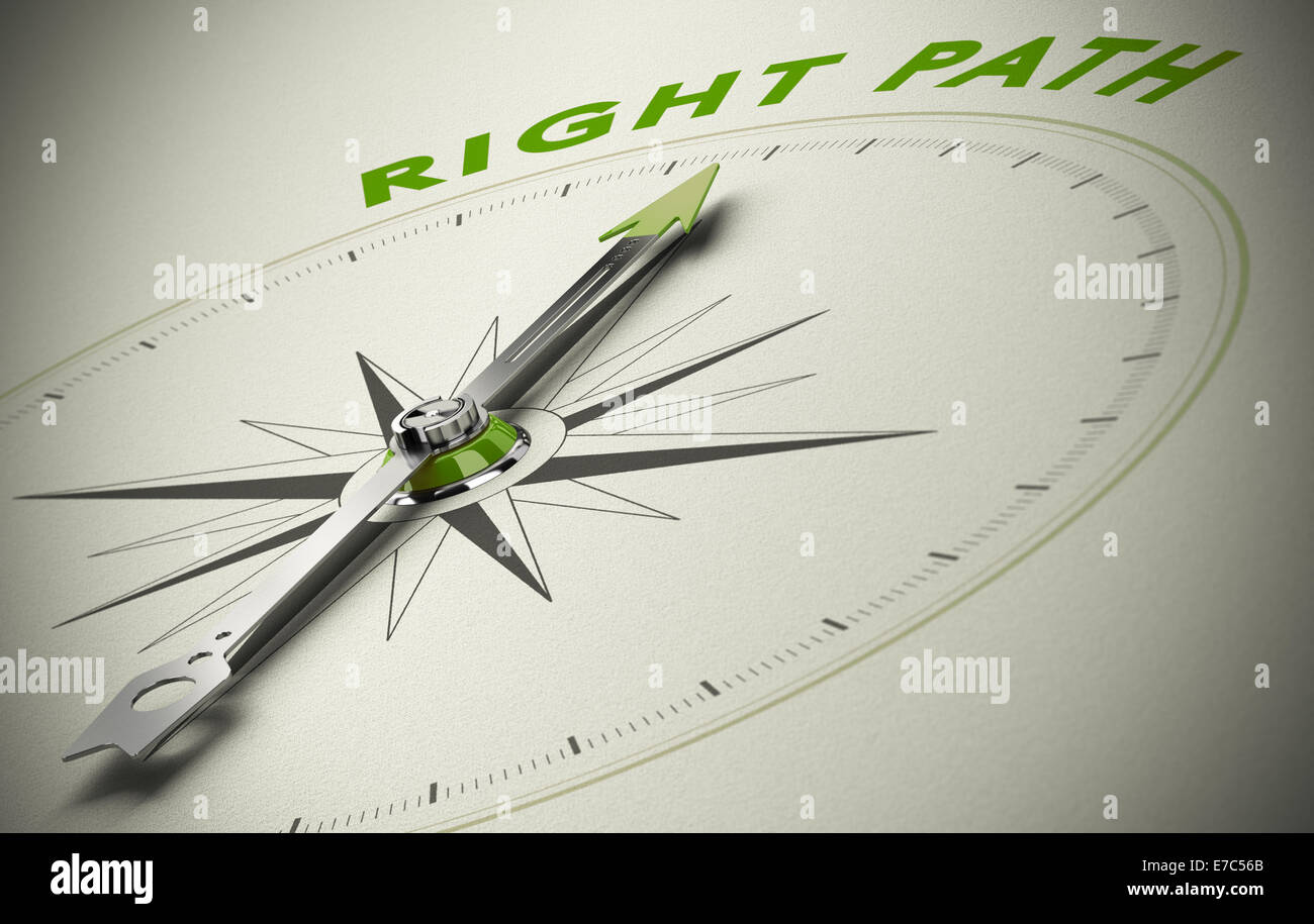 Compass with the text right path, concept image for good direction. green and beige tones - Stock Image