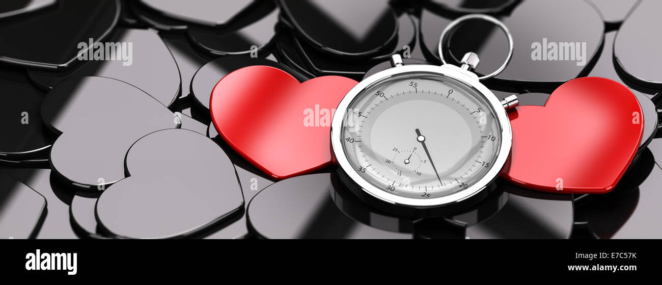 Two red hearts in the middle of a crowd of black hearts, plus a stopwatch, concept image for online dating, concept - Stock Image
