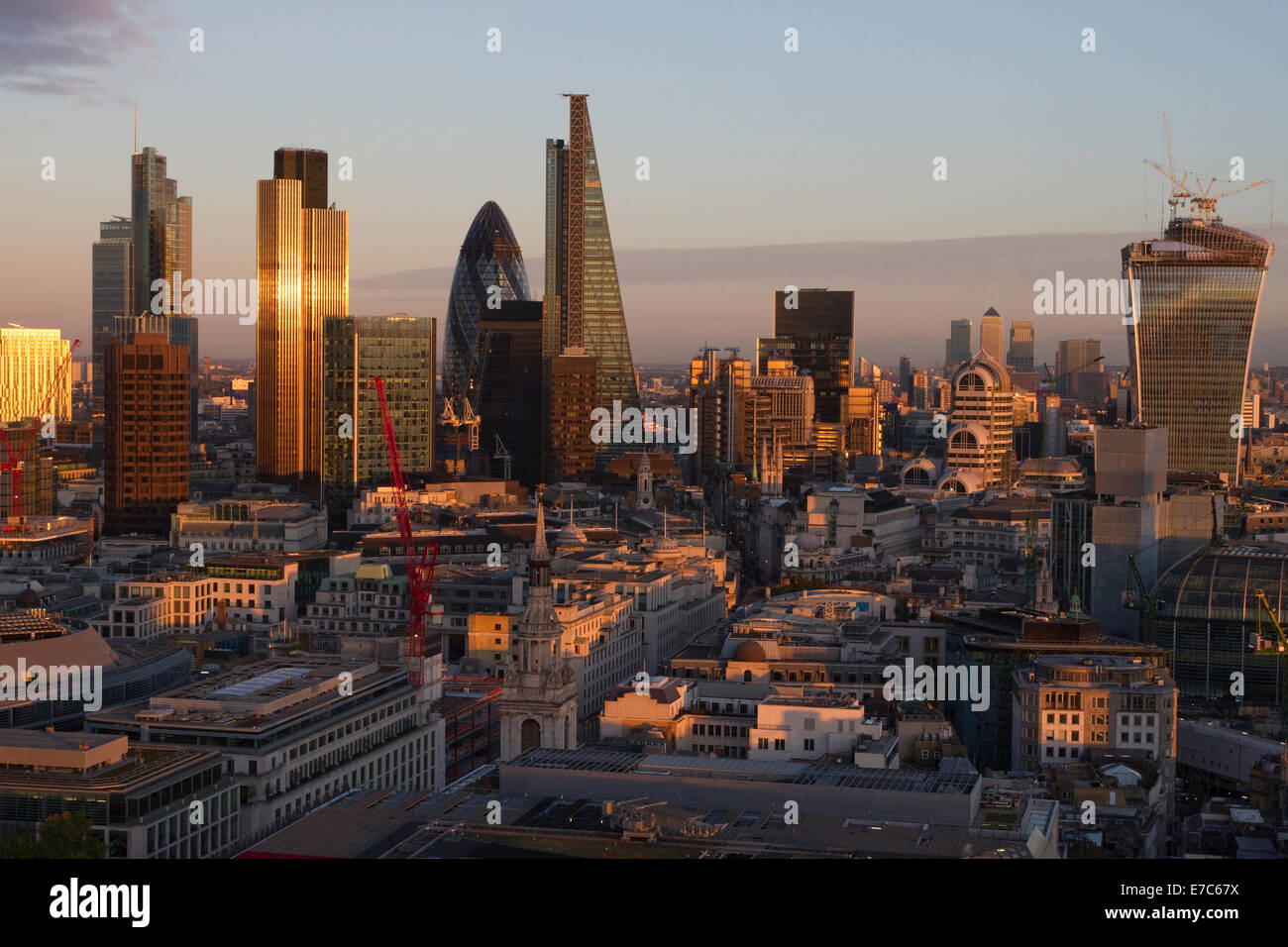 This image shows a view of the City of London from the Golden Gallery of St. Paul's Cathedral, London, England, - Stock Image