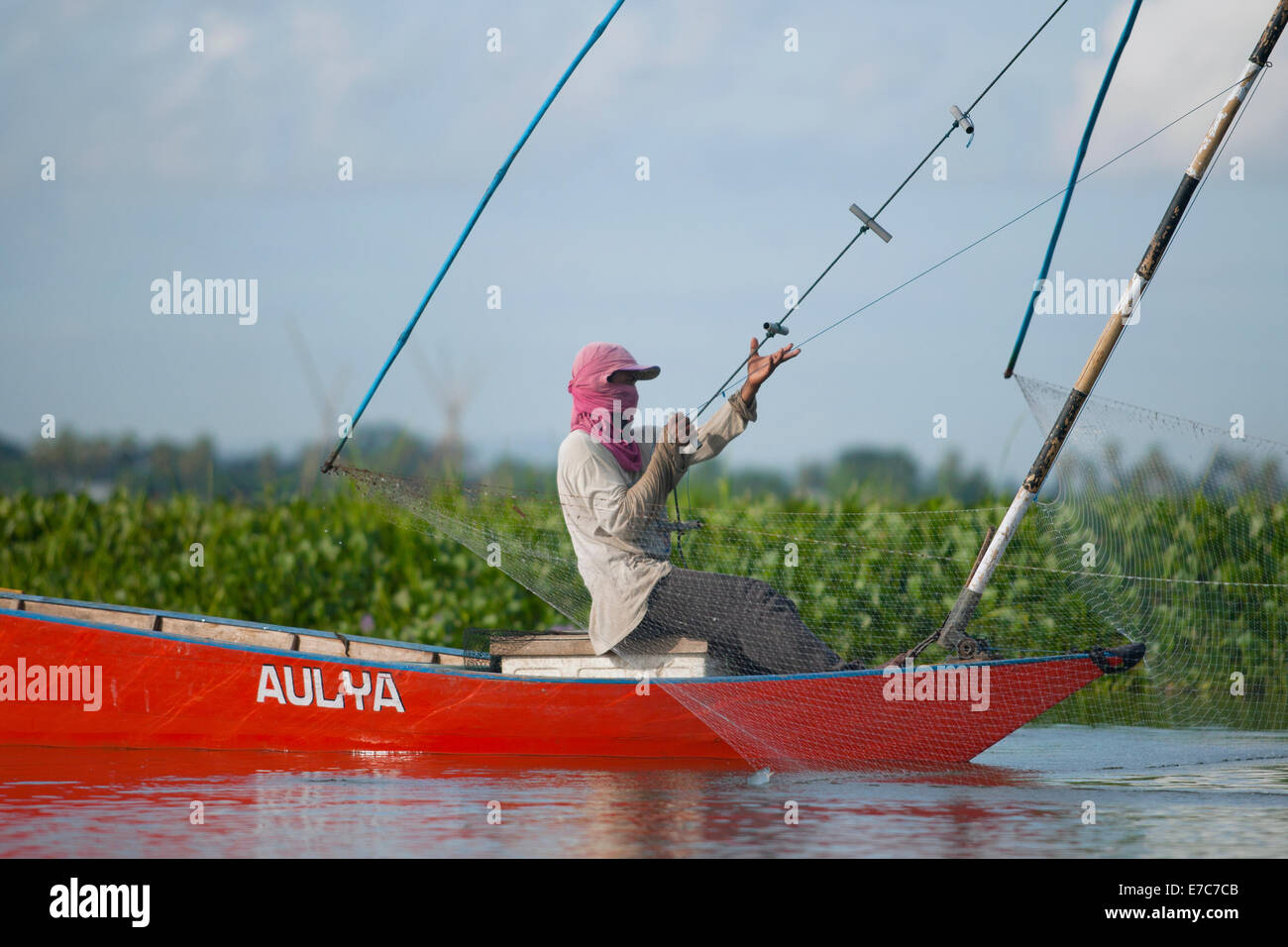 Fishing on the Tempe lake in Sulawesi, Indonesia Stock Photo