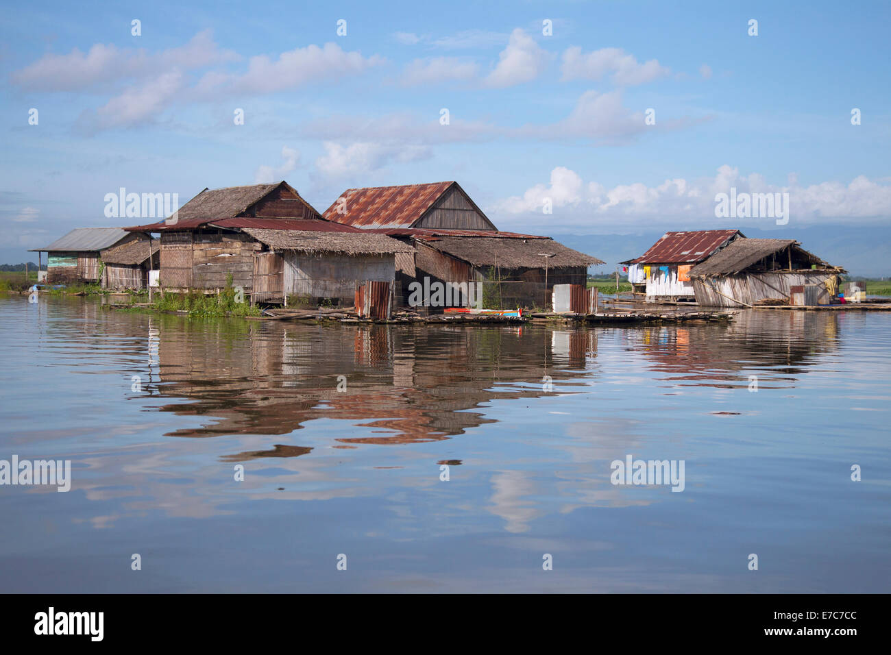 Floating village on the Tempe lake in Sulawesi, Indonesia - Stock Image