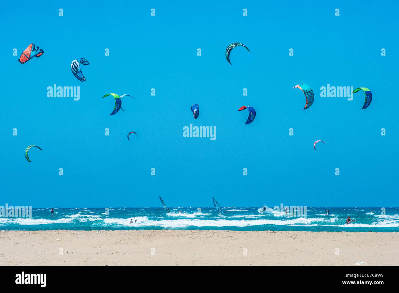Kite surfing and wind surfing in Rhodes, Greece - Stock Image