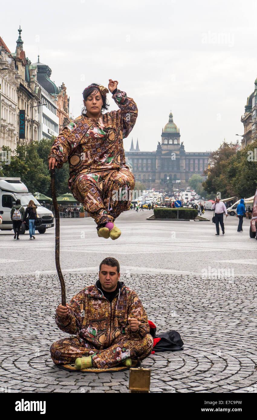 Steer entertainers perform in Wenceslas Square in Prague - Stock Image
