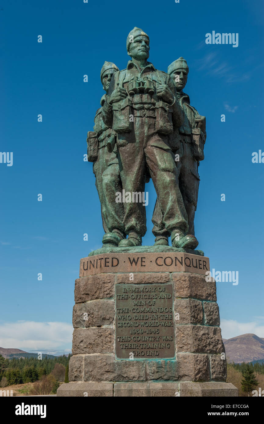 The Commando Memorial is a monument in Scotland, dedicated to the men of the  British Commando Units during World - Stock Image