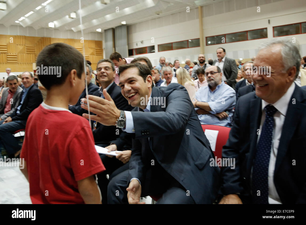 Thessaloniki, Greece. 13th Sep, 2014. Leader of the Greek Opposition party SYRIZA Alexis Tsipras addresses productive - Stock Image