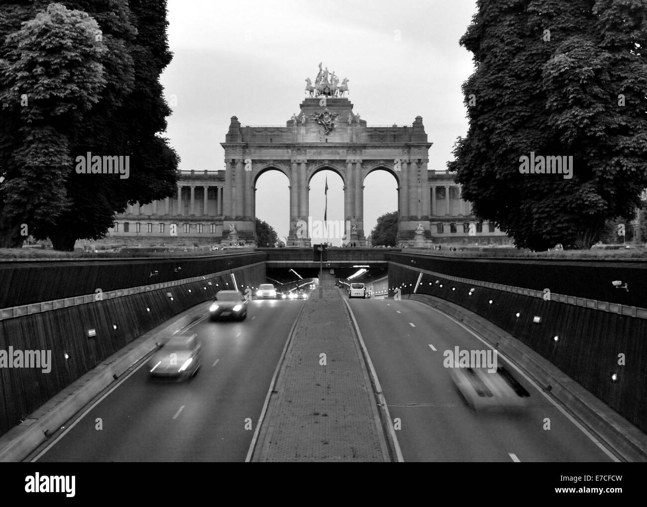 Driving under the Parc du Cinquantenaire in the Belliard Tunnel in Brussels, Belgium - Stock Image