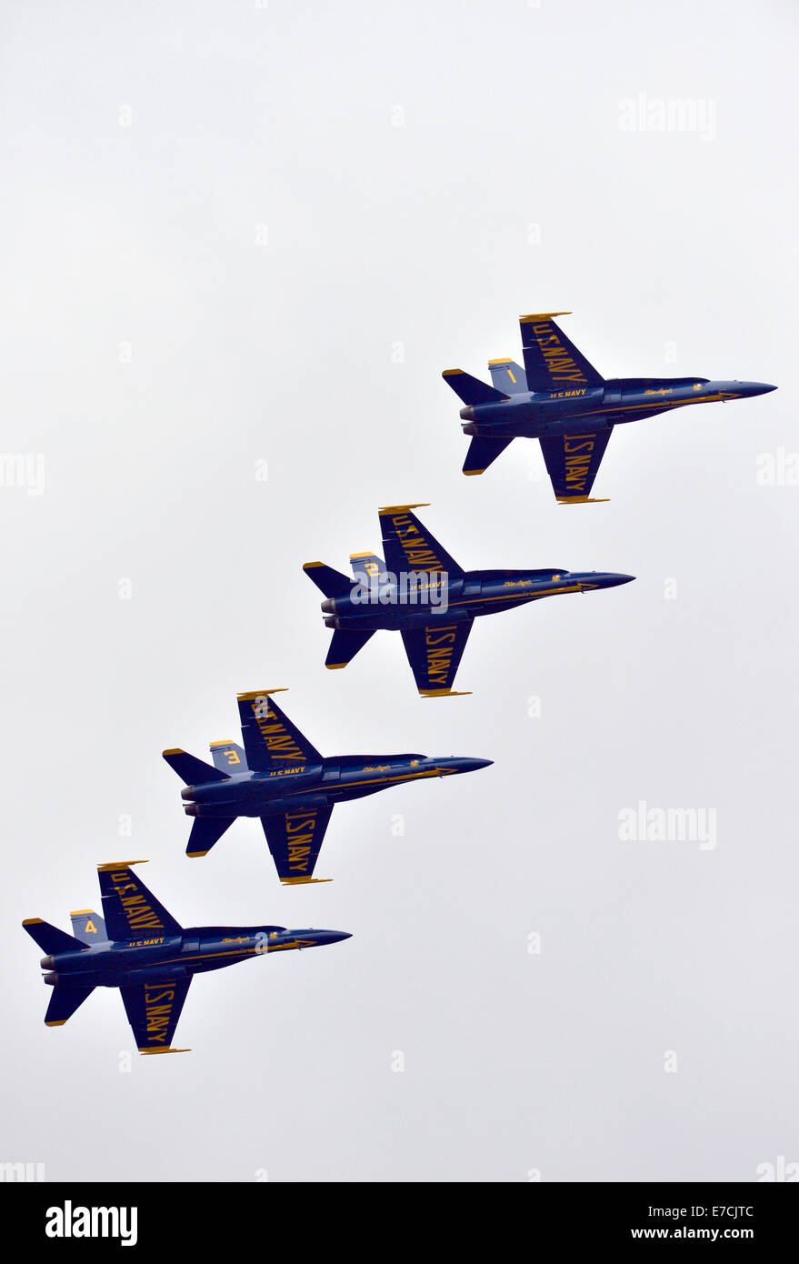 Baltimore, USA. 13th Sep, 2014. The U.S. Navy's Blue Angels aerobatic team performs during a celebration for - Stock Image