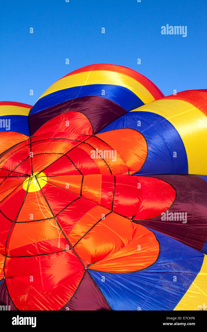 Top rosette shape of a partially inflated hot air balloon Stock Photo