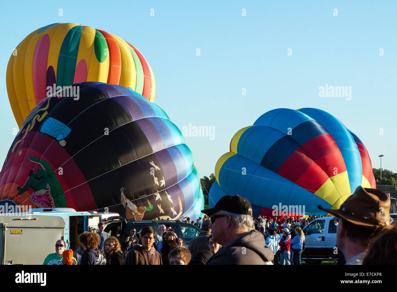 Balloons being inflated and prepped for launch Stock Photo