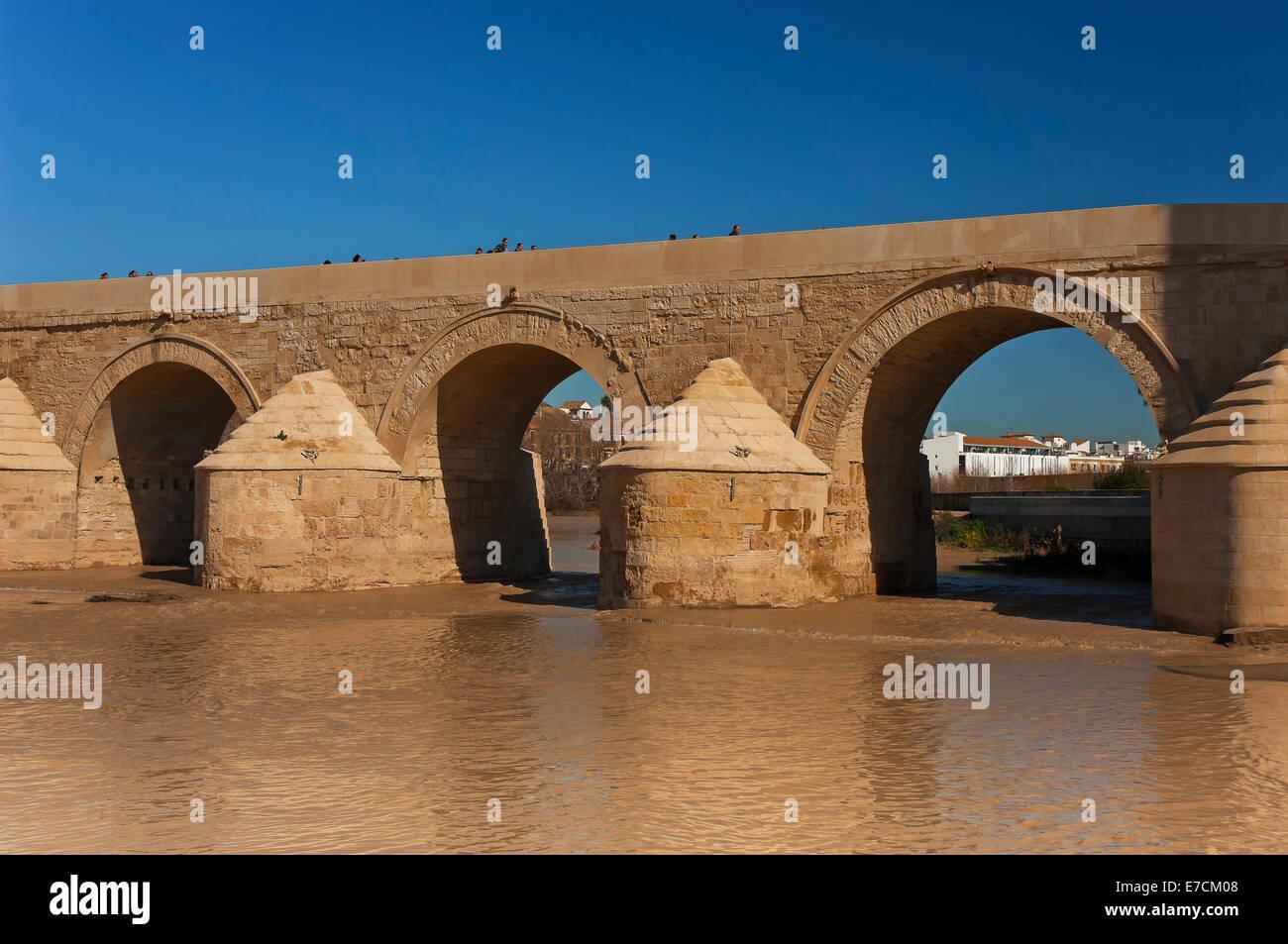 Roman Bridge and Guadalquivir river- 1st century, Cordoba, Region of Andalusia, Spain, Europe - Stock Image