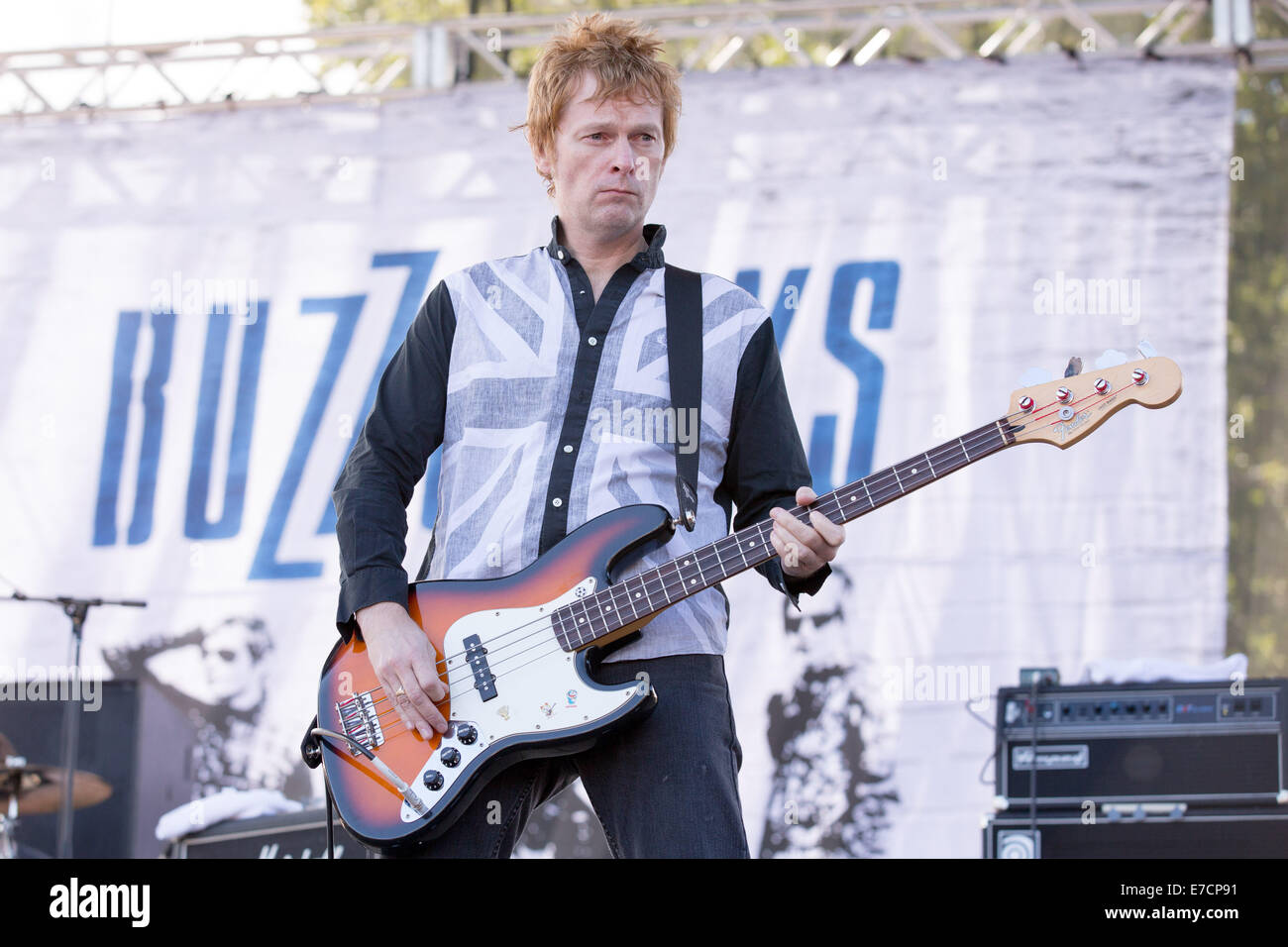 Chicago, Illinois, USA. 13th Sep, 2014. Bassist CHRIS REMMINGTON of the band The Buzzcocks performs live at 2014 - Stock Image