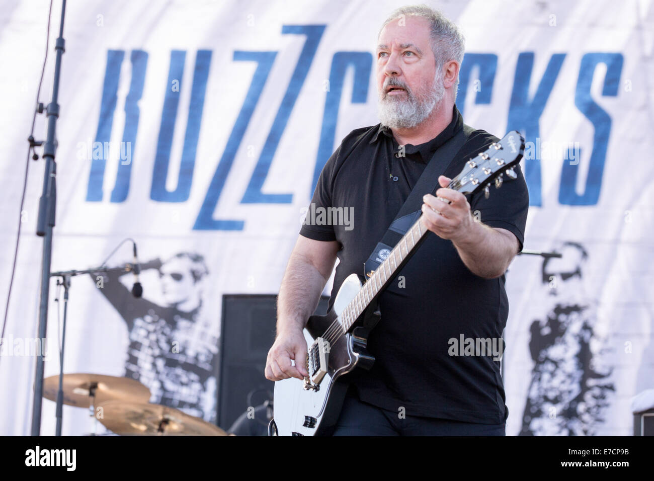 Chicago, Illinois, USA. 13th Sep, 2014. PETE SHELLEY of the band The Buzzcocks performs live at 2014 Riot Fest music - Stock Image