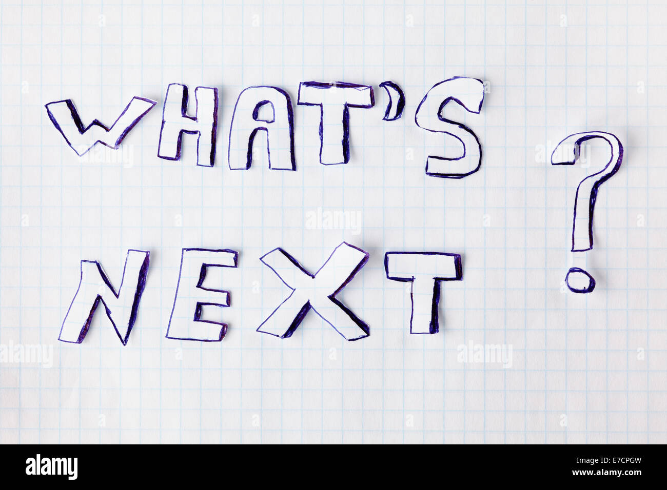 Question 'What's next?' on a notebook sheet. - Stock Image