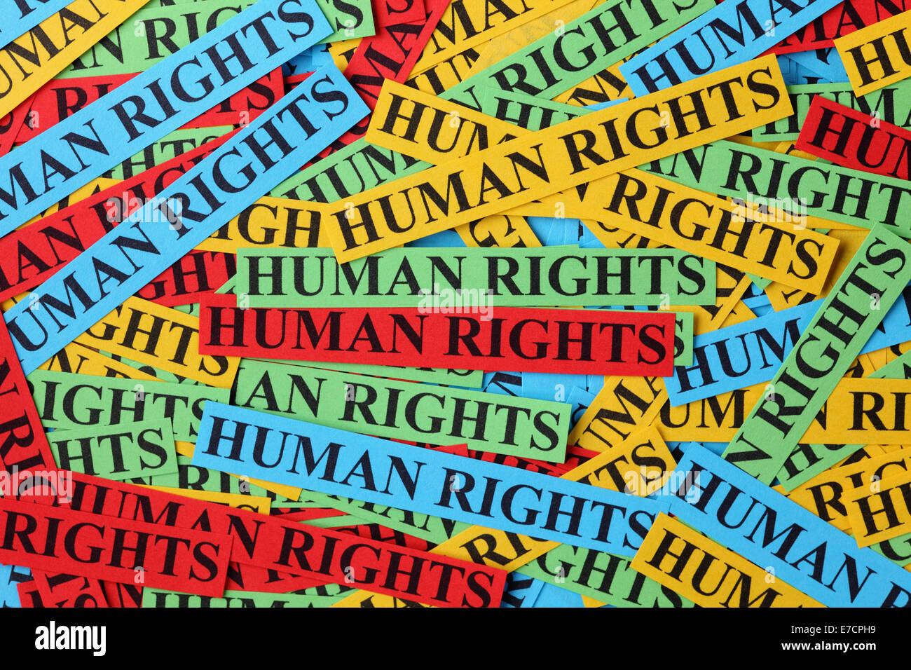 Pile of colorful paper notes with words 'Human Rights'. Human rights concept. - Stock Image