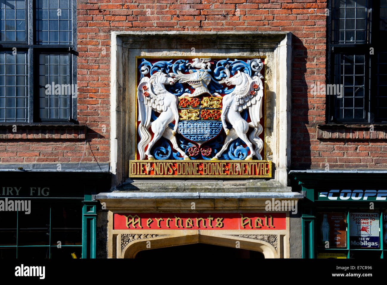 Coat of arms above entrance to Merchant Adventurer's Hall, York, North Yorkshire, England UK - Stock Image