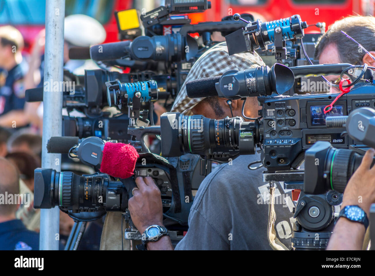 Media photographers covering an event - Stock Image