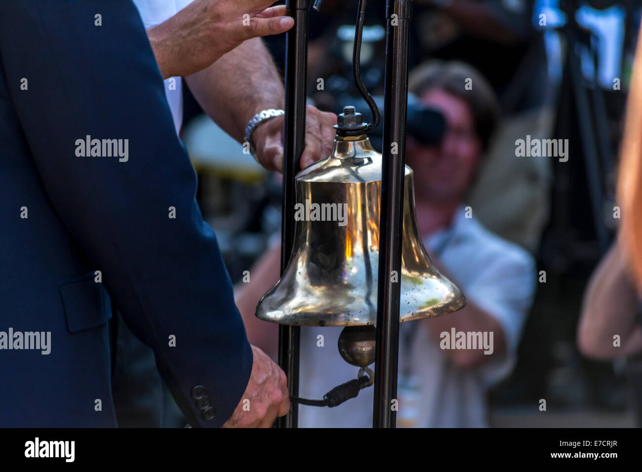 Los Angeles Mayor Eric Garcetti and Fire Chief Ralph Terrazas ring a bell in remembrance of lives lost on 9-11-2001 - Stock Image