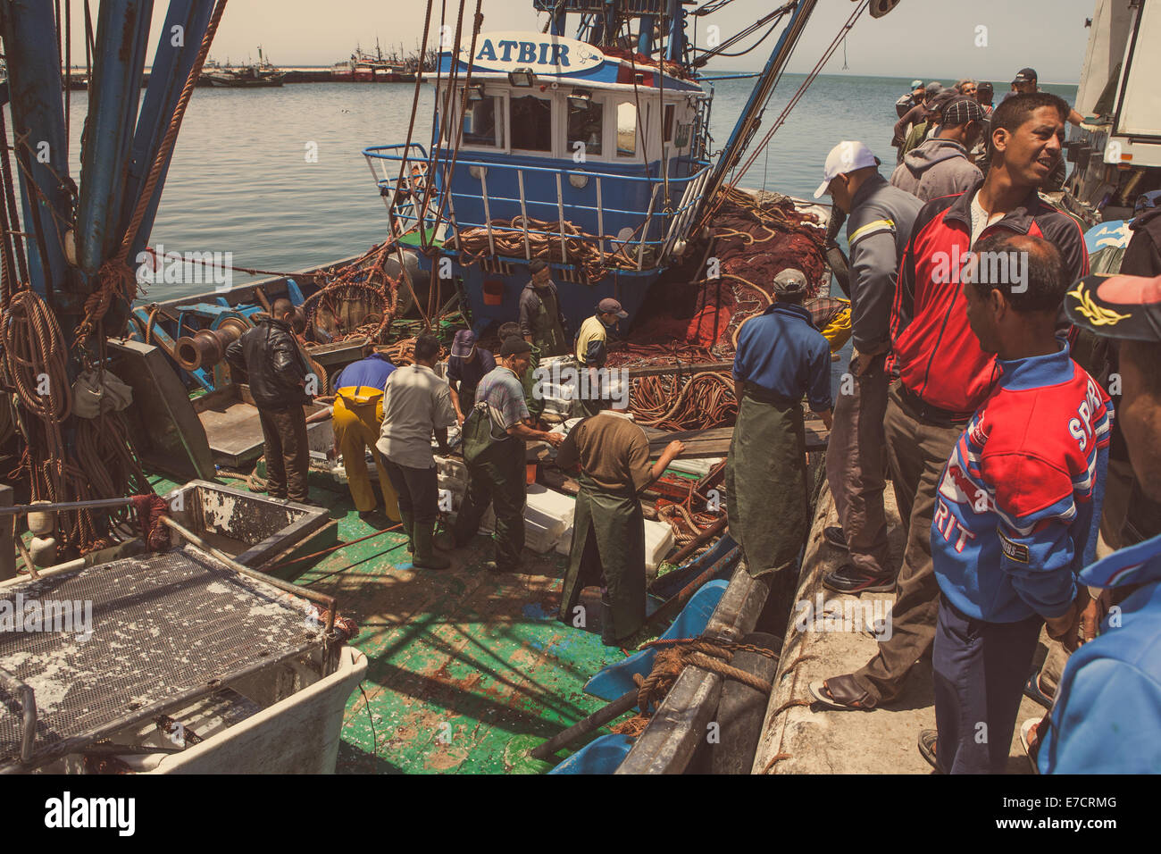 Daklha, Morocco, June 21, 2014: Daily Fish market in Daklha, Western Sahara, Morocco, were fresh seafood is sold - Stock Image