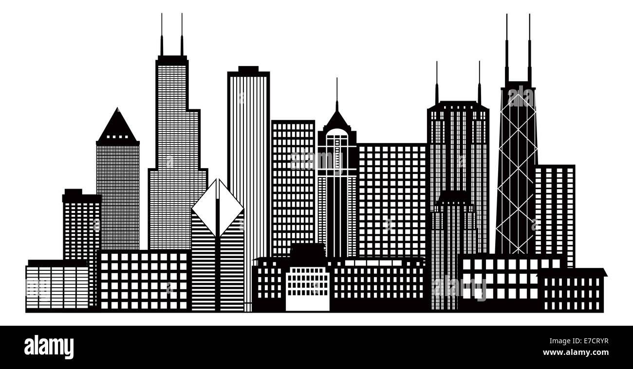 Chicago City Skyline Panorama Black Outline Silhouette