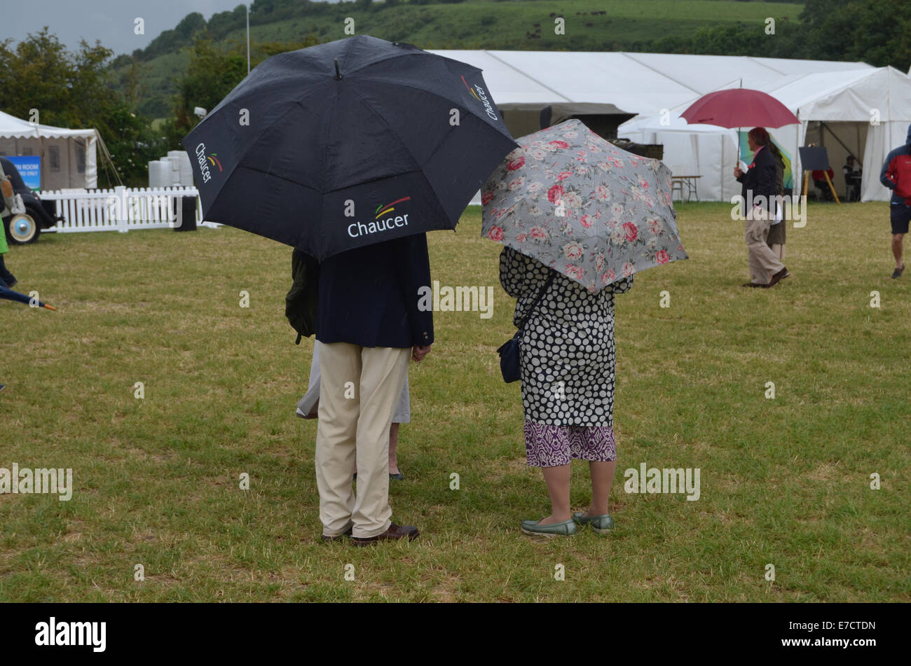 Raining at Chalke History Festival, Wiltshire UK 2014 - Stock Image