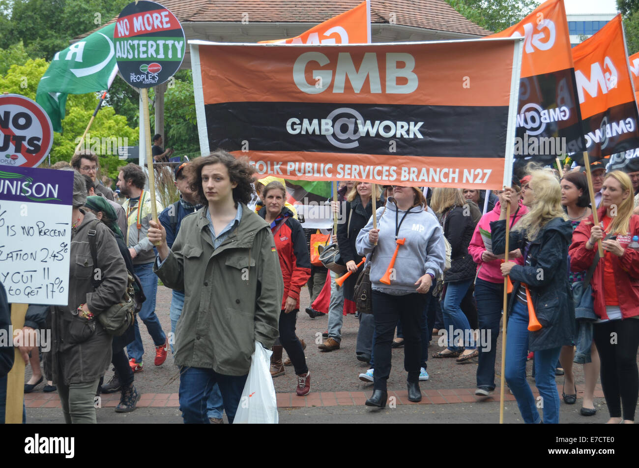 Protest against public sector cuts, Norwich July 2014 UK - Stock Image