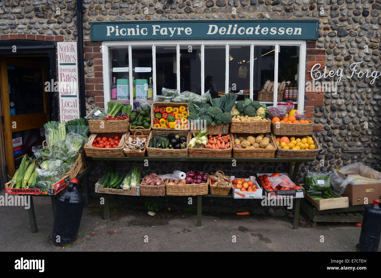 Local shop, selling mainly local produce, Cley next the Sea, Norfolk August 2014 UK - Stock Image