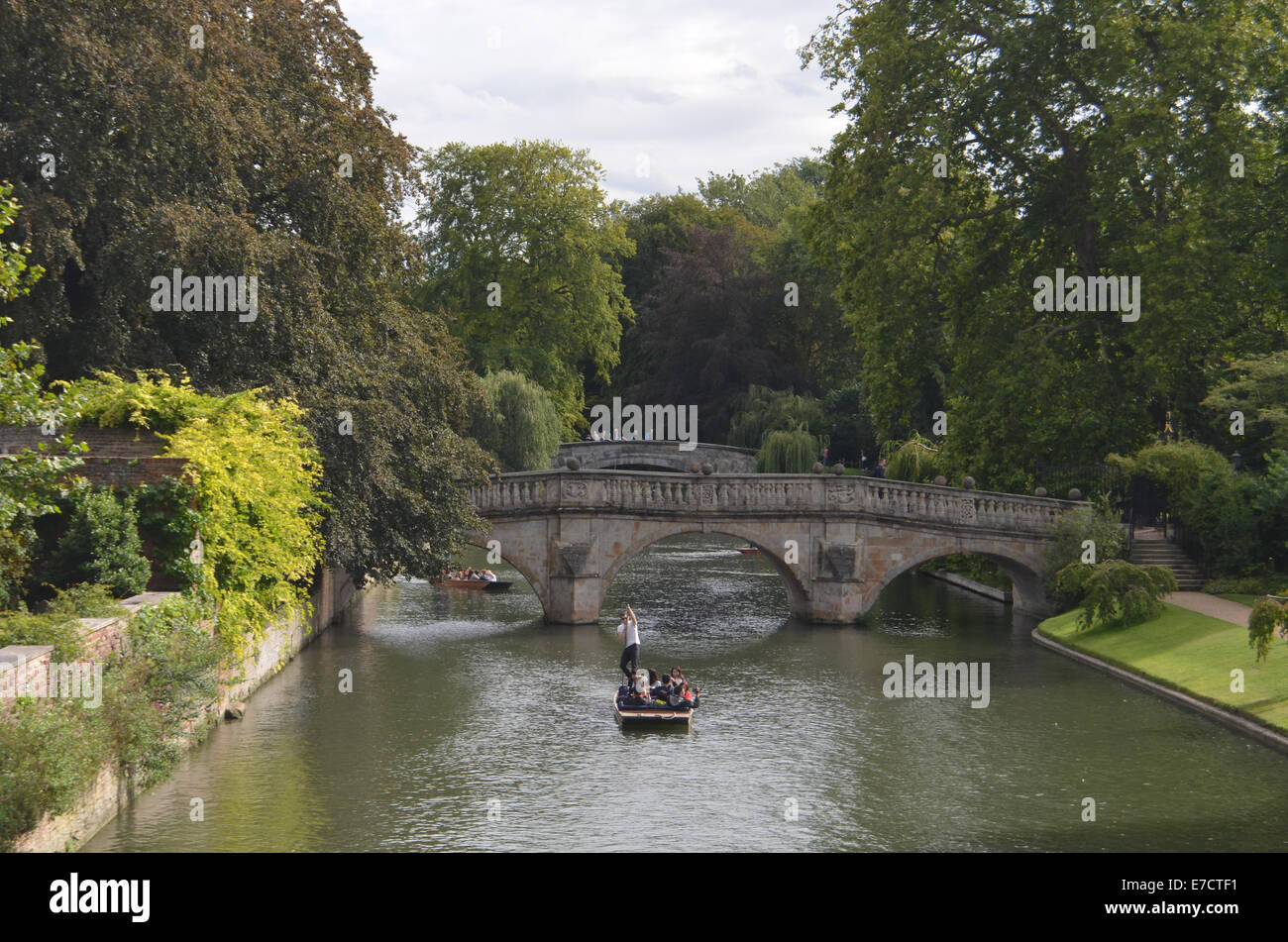 Punting in Cambridge August 2014 UK - Stock Image