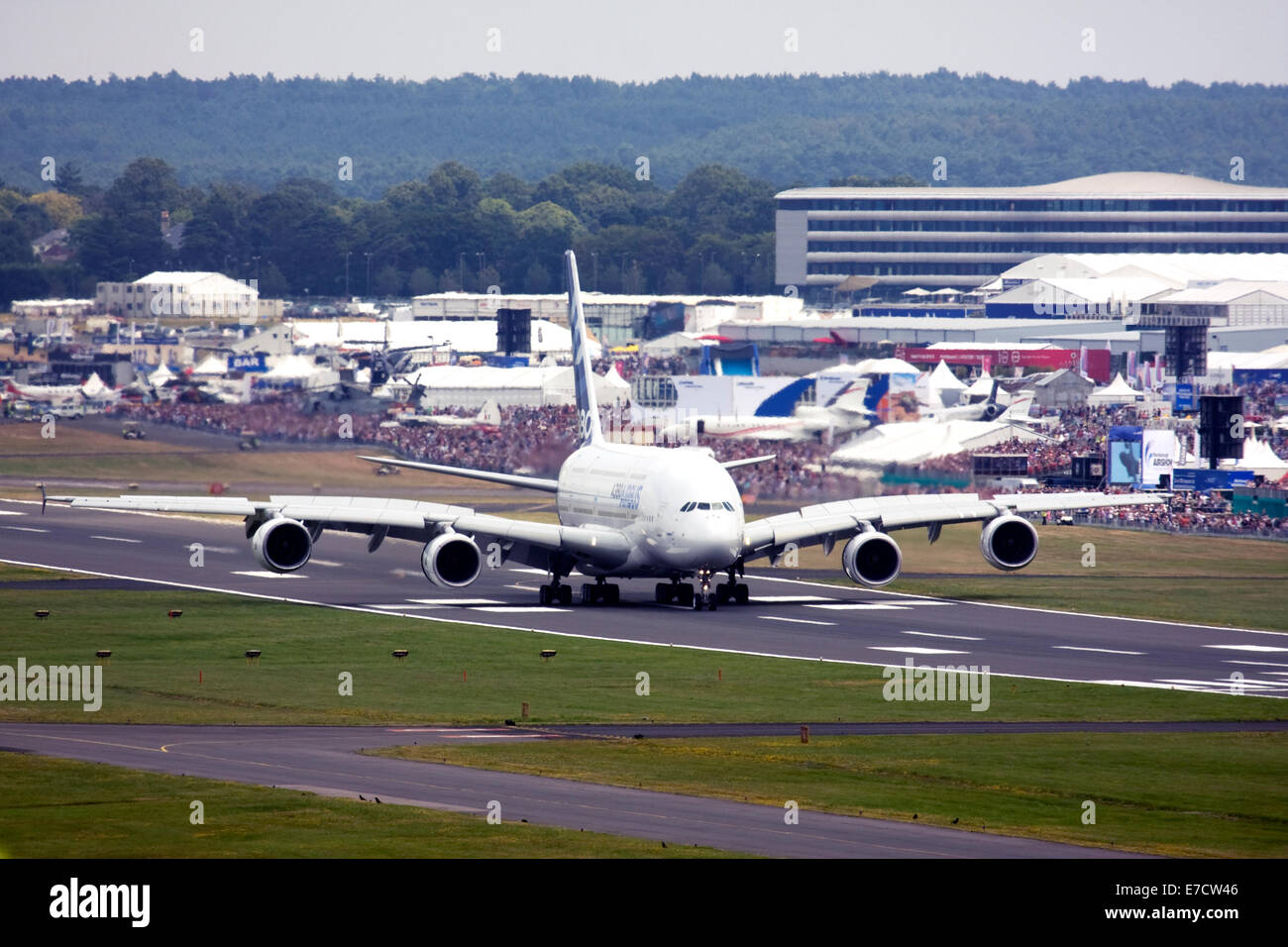 Airbus A380-841 at Farnborough International Airshow 2014 - Stock Image