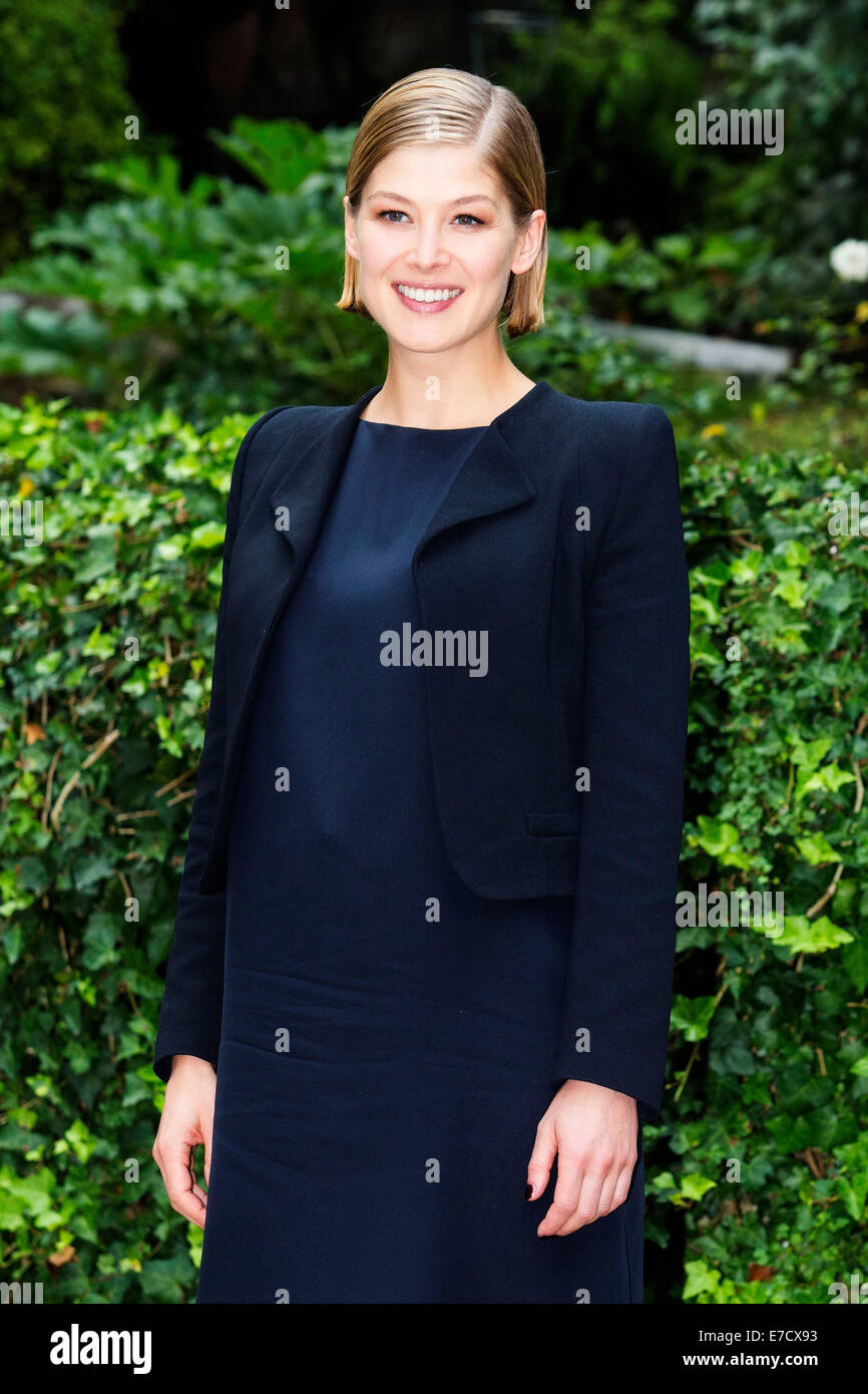 Rosamund Pike attending the 'Gone Girl' photocall at Hotel De Russie. Rome on Septmber 12, 2014 Stock Photo