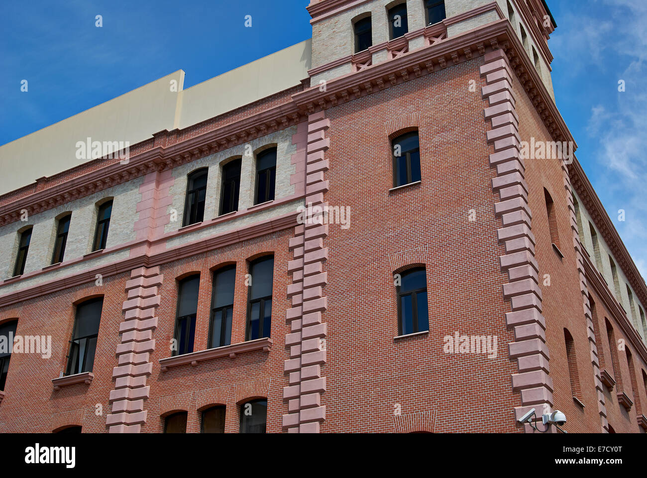 buildings with lace fronts of city Madrid Stock Photo