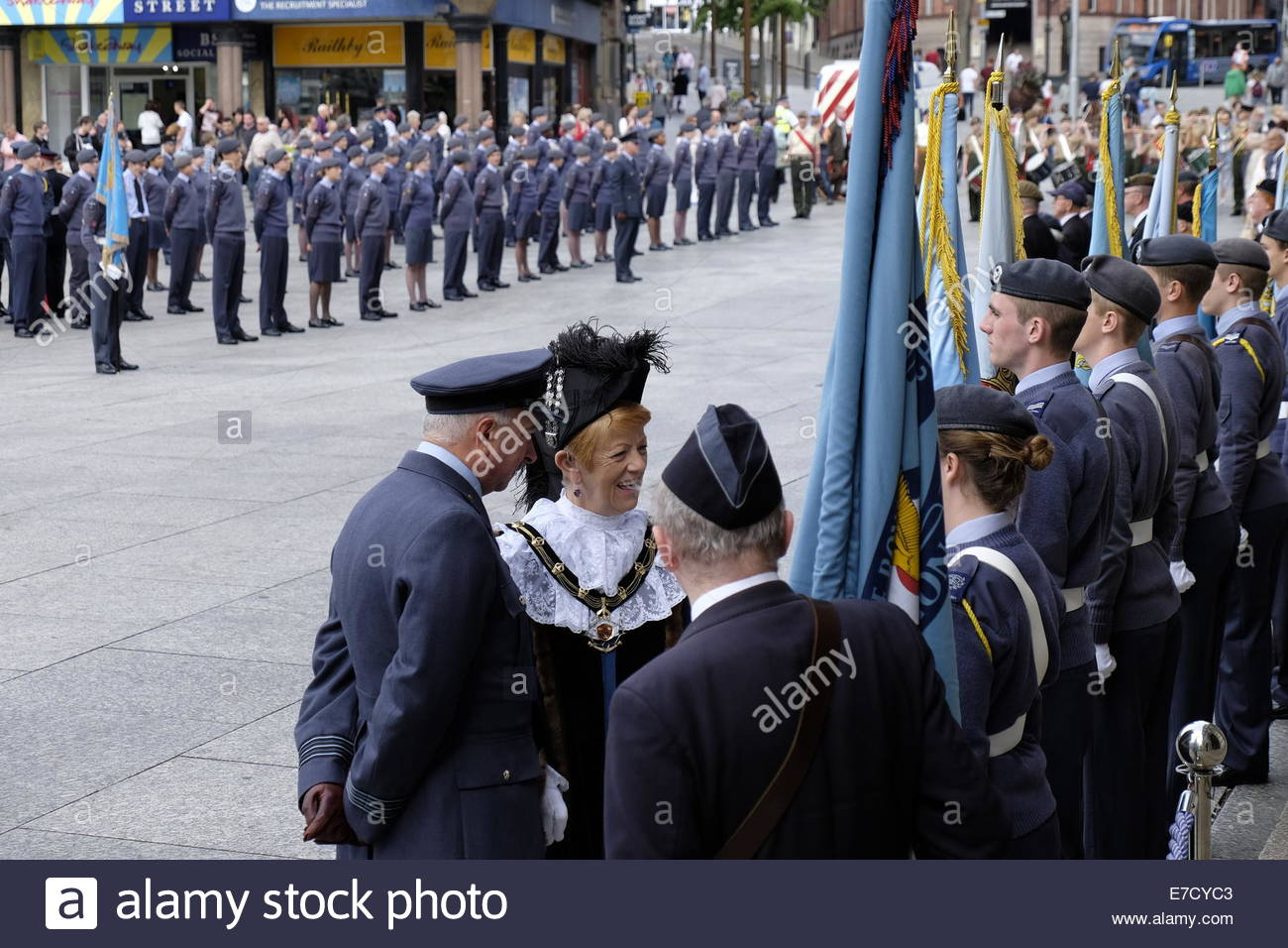 Nottingham, UK, 14 September 2014, Battle of Britain Sunday parade - Old Market Square Nottingham  Sheriff of Nottingham, - Stock Image