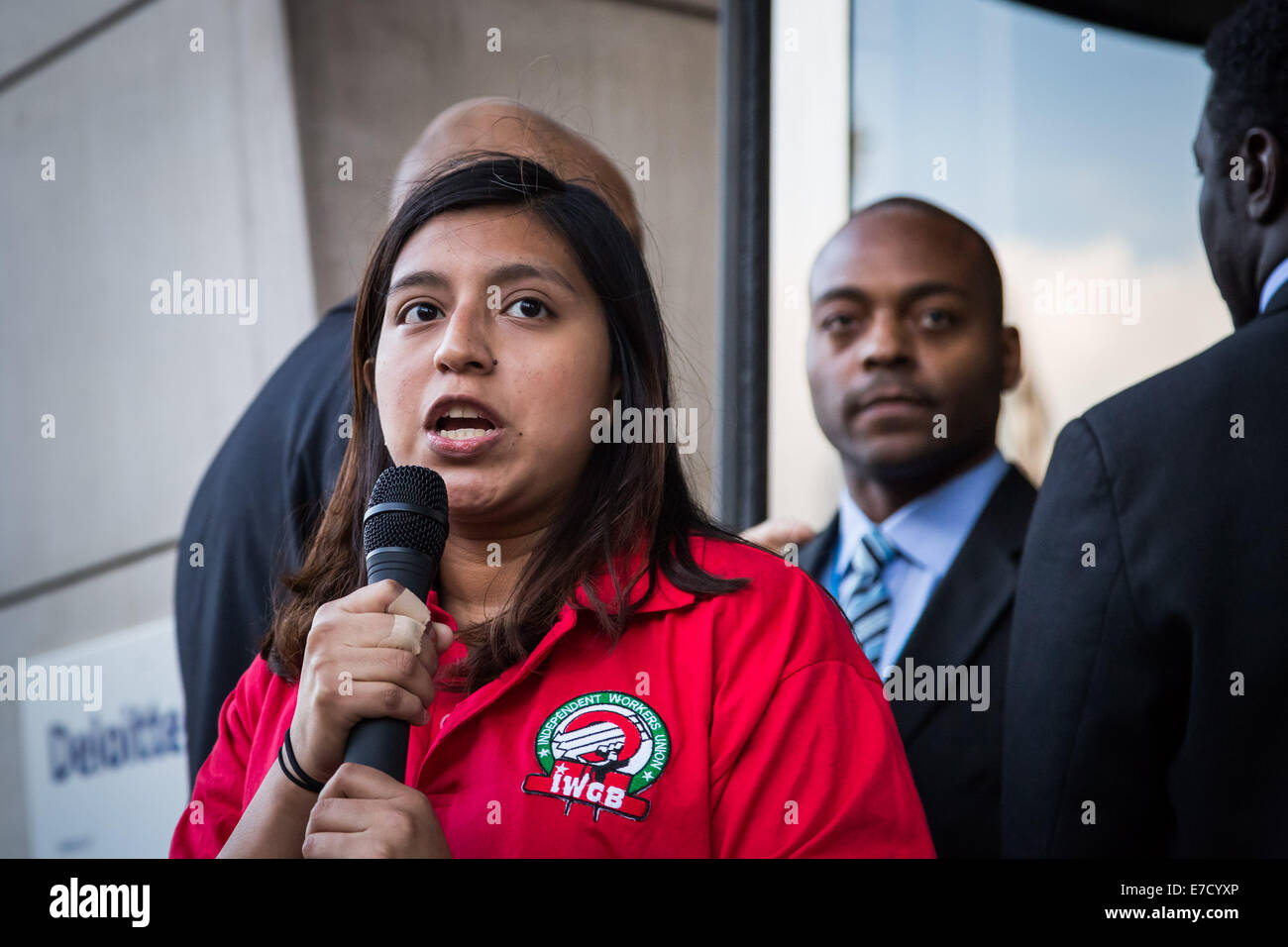 London, UK. 12th Sept, 2014.  IWGB Cleaners protest against Serco misconduct 2014 Credit:  Guy Corbishley/Alamy - Stock Image