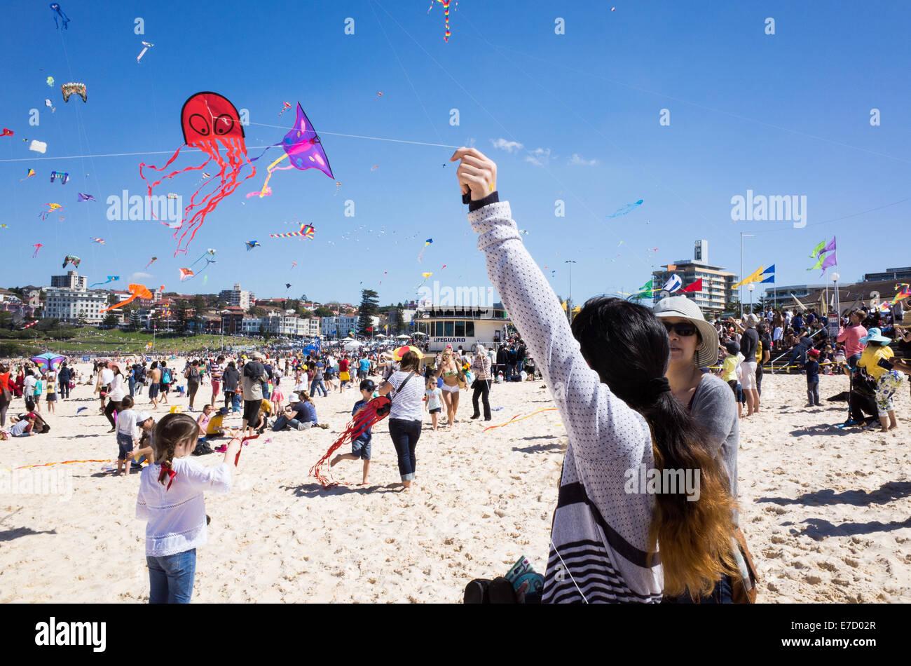 People flying kites - Stock Image