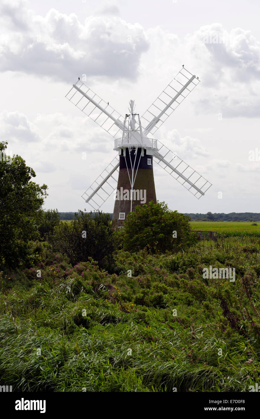 Turf Fen Drainage Mill - one of many small drainage mills found along the banks of the Norfolk Broads Stock Photo