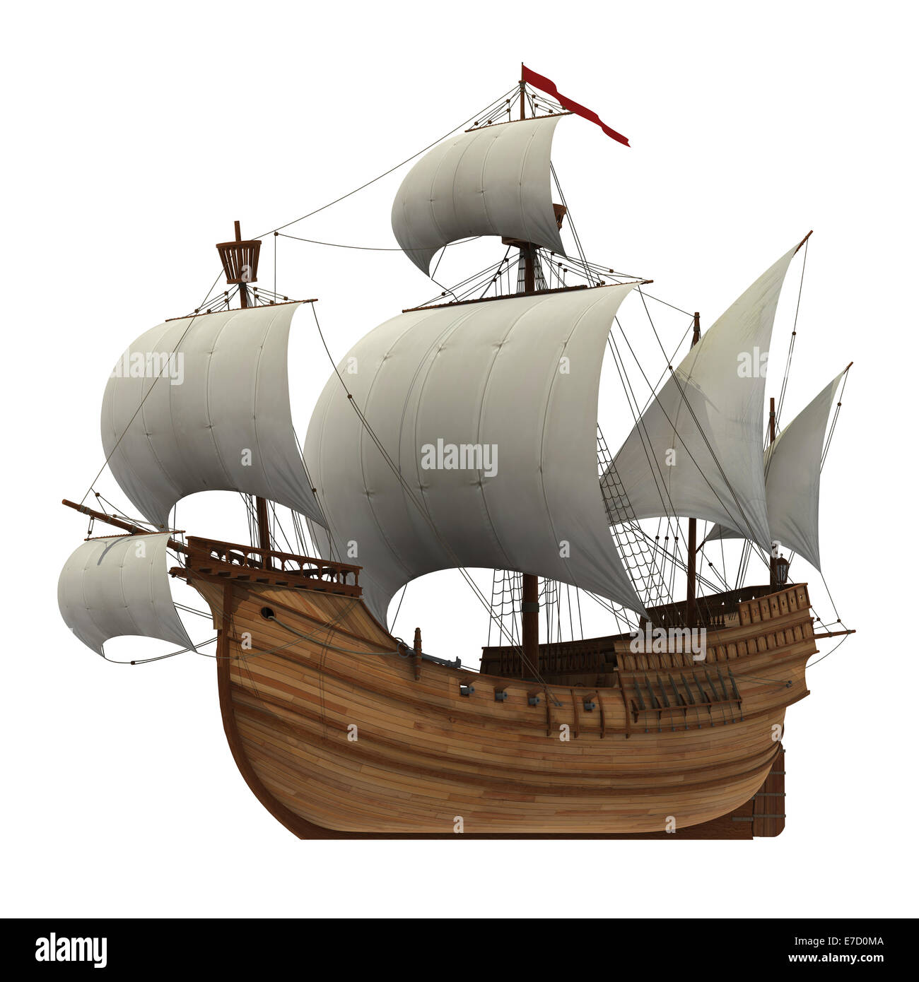 Caravel With White Sails. - Stock Image