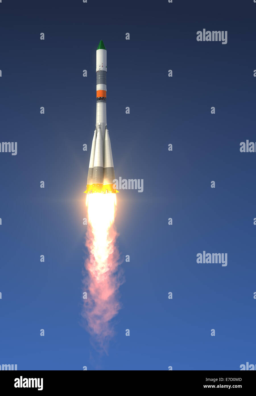 Cargo Rocket Launch On A Sky Background - Stock Image