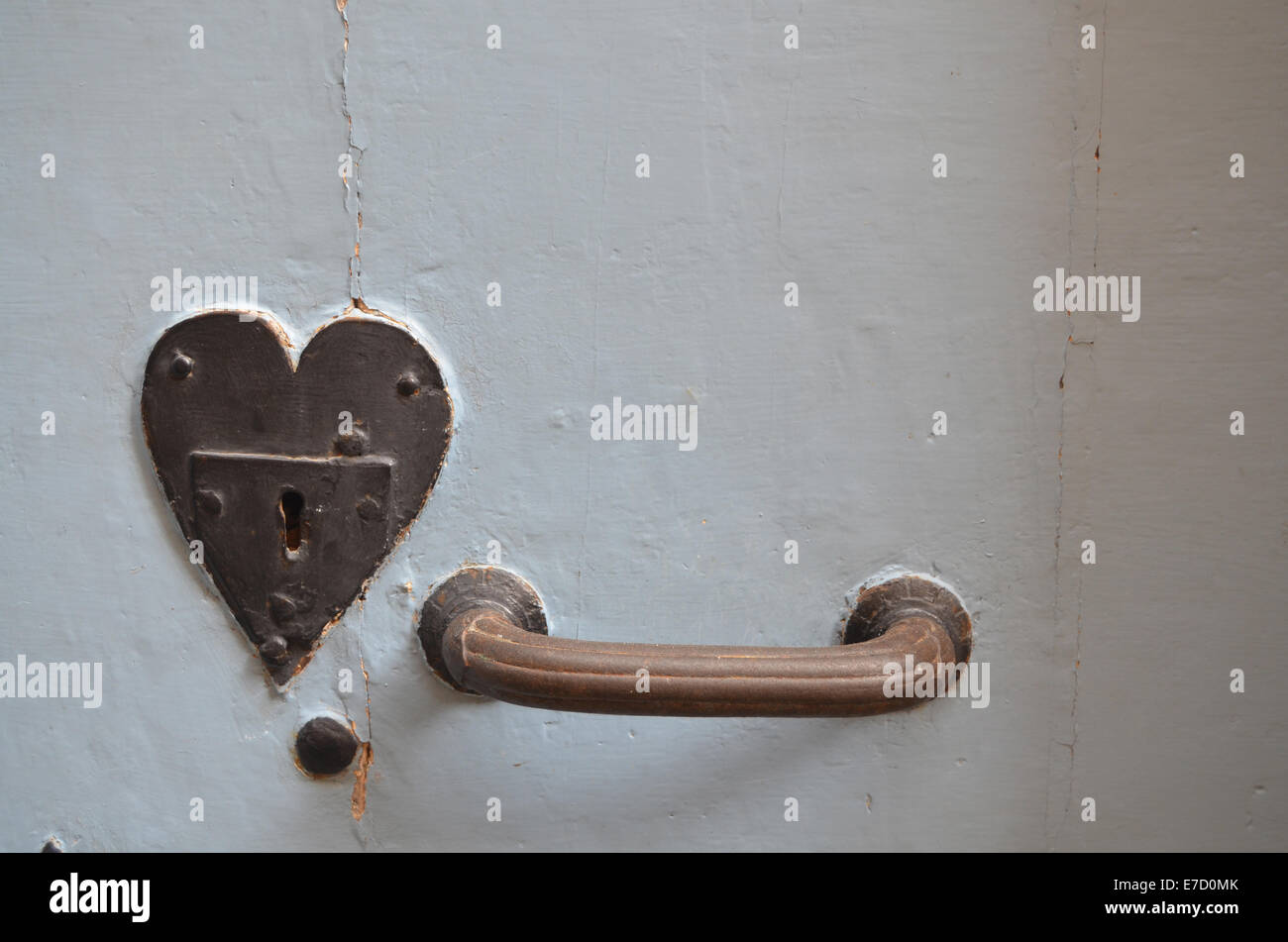 Heart shaped lock, France - Stock Image