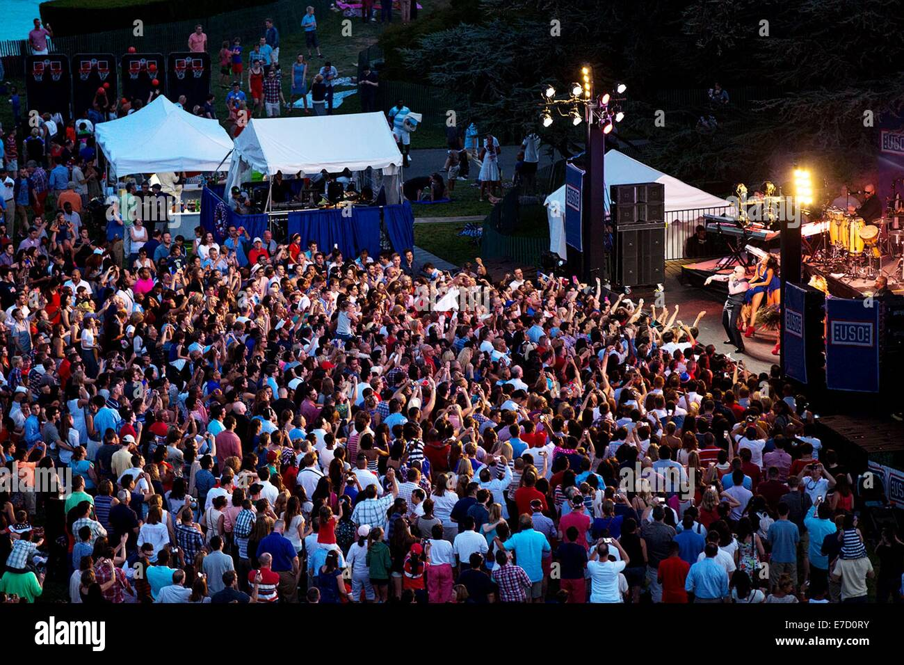 Pitbull performs during the Fourth of July celebration on the South Lawn of the White House July 4, 2014 in Washington, - Stock Image