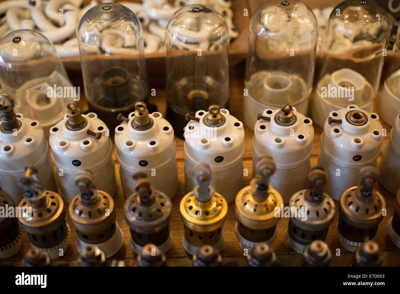 Vintage ceramic electricity fittings, Paris's amazing antiques market, Marche aux Puces de Saint-Ouen, Paris, - Stock Image