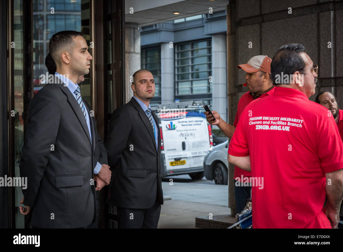 London, UK. 12th Sept, 2014.  IWGB Cleaners protest against Serco misconduct 2014 Credit:  Guy Corbishley/Alamy Stock Photo