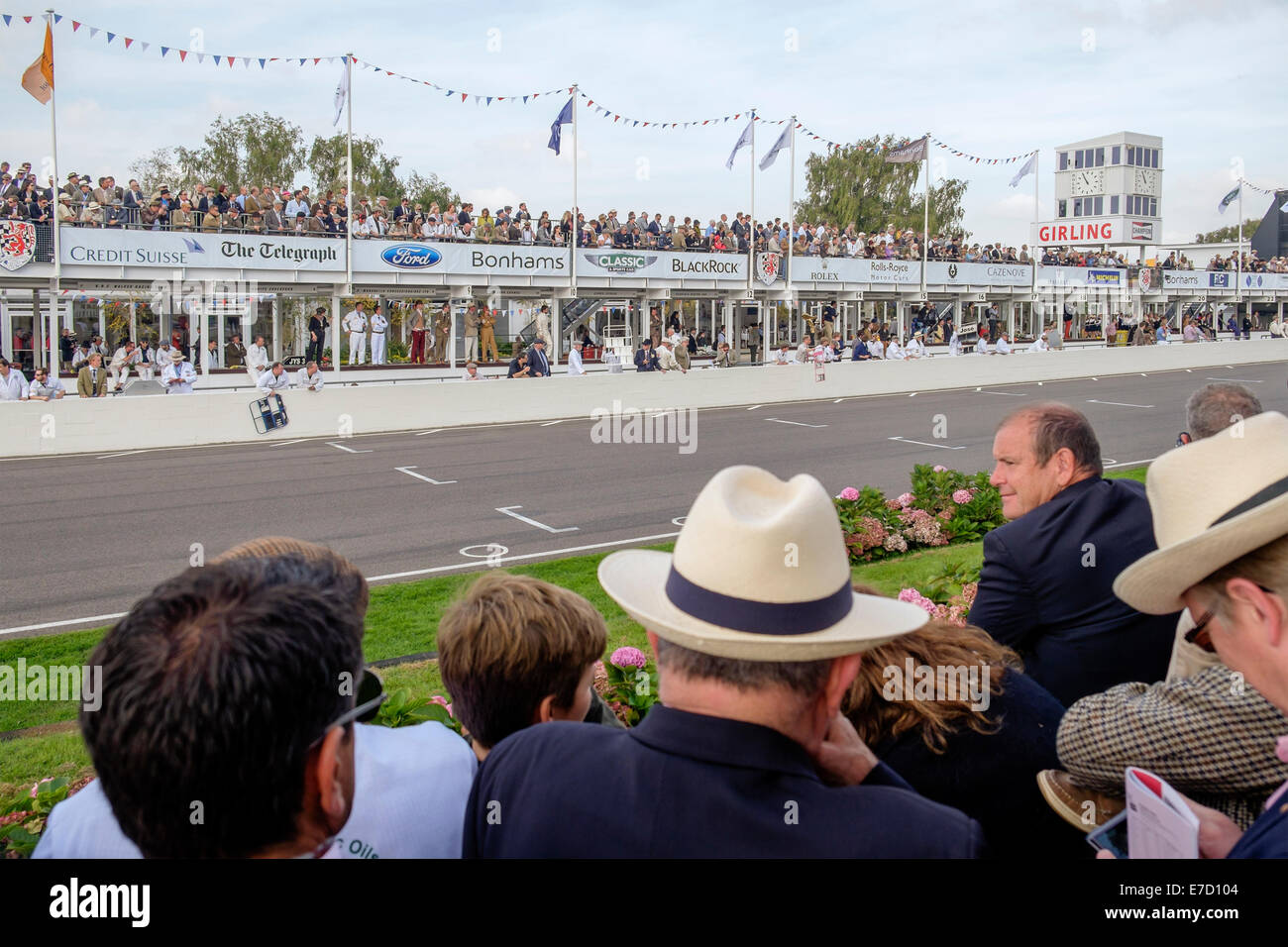 Chichester, West Sussex UK. Sunday 14th September 2014. Goodwood revival, Goodwood motor circuit, showing the crowds Stock Photo